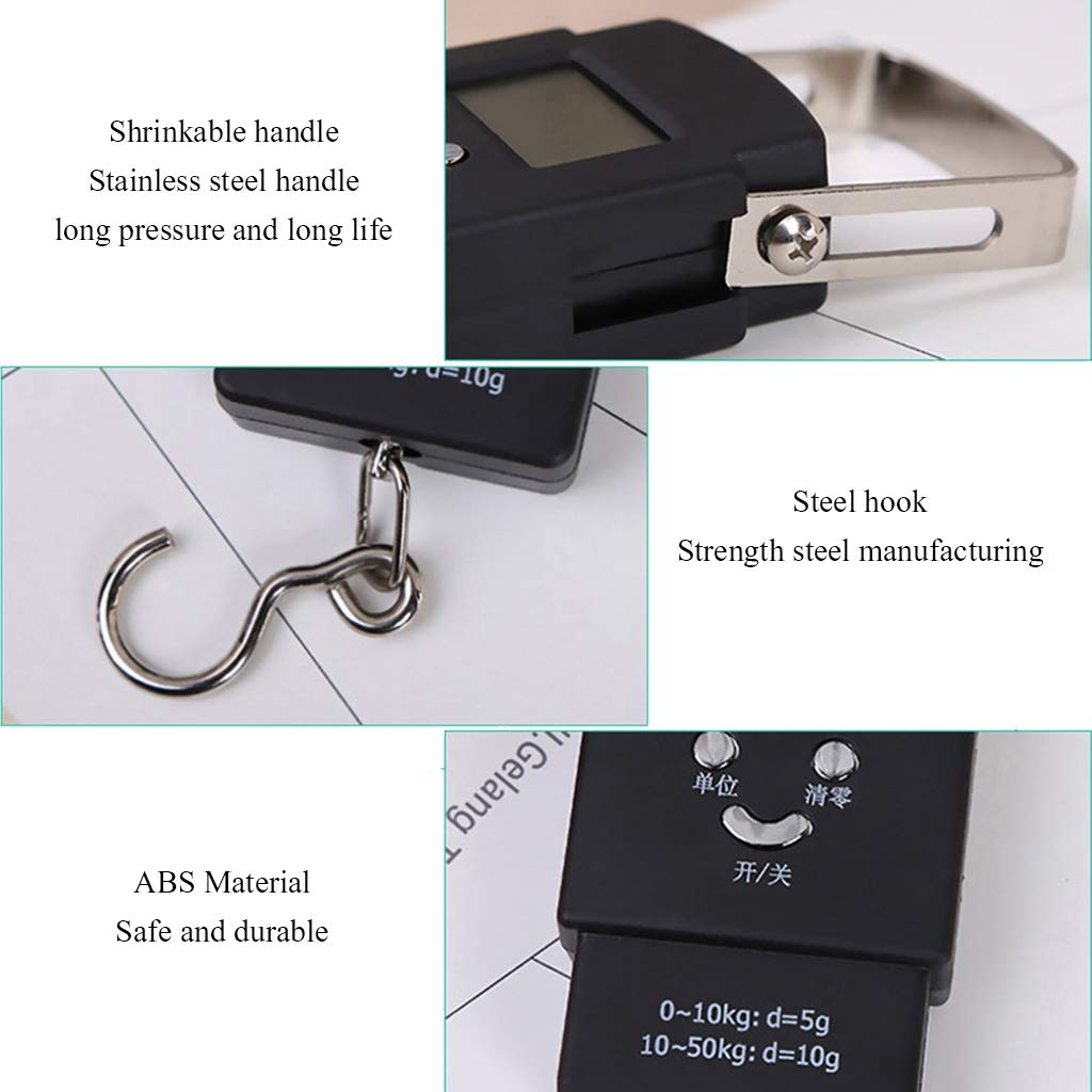 ZXC Luggage Scale Lightweight Mini Spring Bearing Handheld Hook Scale 50KG Capacity Kitchen//Express//Home