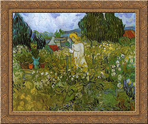 - Mademoiselle Gachet in her garden at Auvers-sur-Oise 24x20 Gold Ornate Wood Framed Canvas Art by Vincent van Gogh