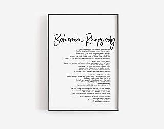 MalertaART Bohemian Rhapsody print Bohemian Rhapsody song lyrics art Editable template Queen band Song posters Custom print Printable song C30 Framed Wall Art