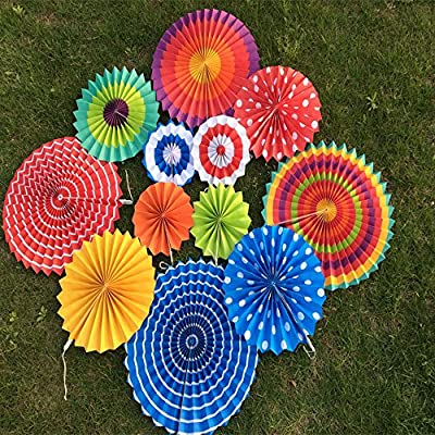 X-Sunshine Round Folding Hanging Paper Mexican Fiesta Wedding Birthday Carnival Kids Party Supplies for Porch Tree Home Decoration, Party Supplies Favors Colors Hanging Decoration