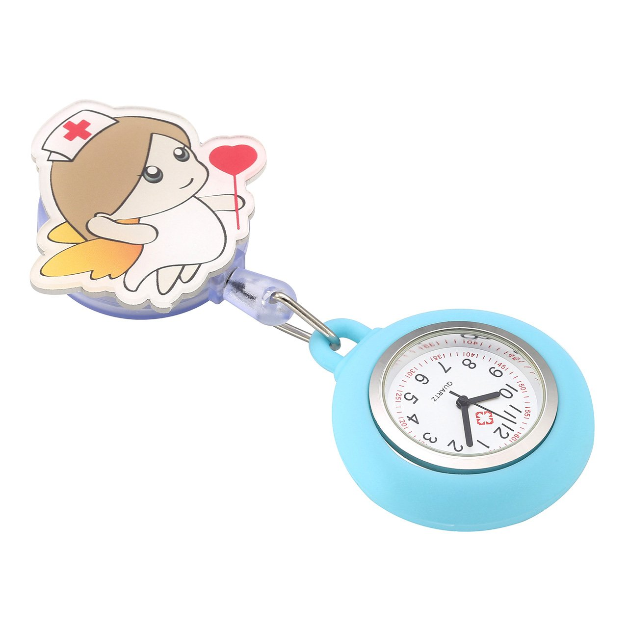 Top Plaza Girls' Kid's Cute Lovely Cartoon Angel Silicone Nurse Clip-on Fob Brooch Hanging Easy Pull Clasp Stretch Analog Quartz Pocket Watches,Set of 3#1 by Top Plaza (Image #3)