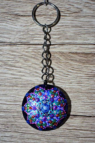 Large Glass hand painted keychain with wooden back ()