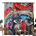 NUOMANAN Room Darkening Wide Curtains Art,Grafitti Like Sketchy Style Colorful Painting with Human Like Face Dog Animal Image, Multi Colored,Light Blocking Drapes with Liner