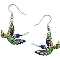 DianaL Boutique Silvertone Enameled Multicolor Hummingbird Earrings Bird Earring Gift Boxed
