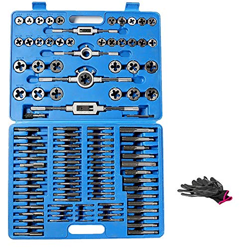 110 Piece Combination Tap and Die Set Alloy Steel 55°- 60° Metric Tools with Carrying Case + Free Glove Amazing Tour