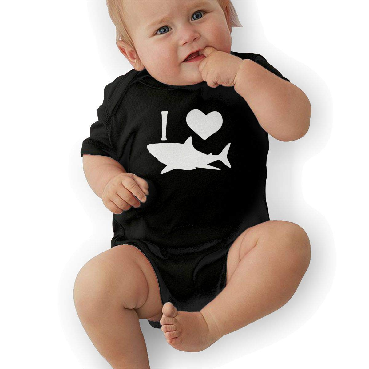 Short Sleeve Cotton Rompers for Unisex Baby Fashion I Love Shark 1 Playsuit