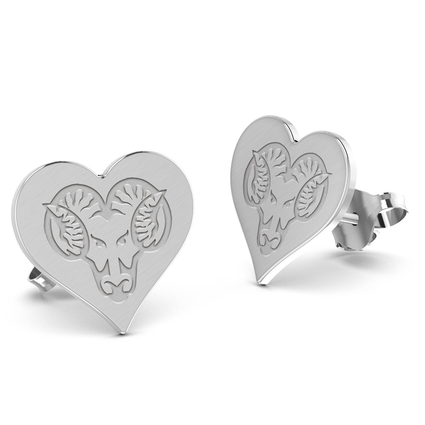 West Chester Golden Rams Heart Stud Earring See Image on Model for Size Reference