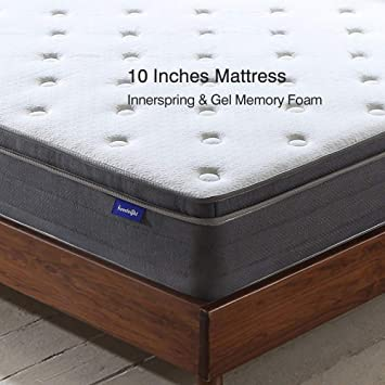 Amazon.com: Sweetnight 10 Inch Full Size Mattress In a Box - Sleep Cooler with Euro Pillow Top Gel Memory Foam, Individually Pocket Spring Hybrid Mattresses ...