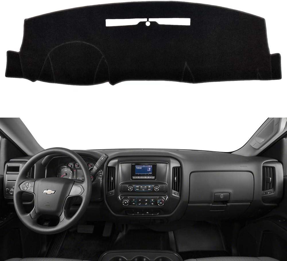 HanLanKa Dash Cover Mat-Fits 2014-2018 Chevy Chevrolet Silverado 1500 / GMC Sierra 1500, 2015-2019 2500 HD/3500 HD, Carpet Dashboard Cover with Speaker Cutting-No Forward Collision Warning (Black)