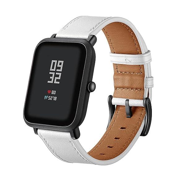 MYQyiyi Clásico Correa de cuero de Reloj para Xiaomi Amazfit Bip Youth Watch: Amazon.es: Relojes
