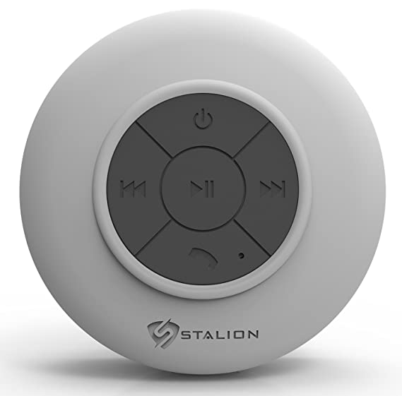 Incroyable Shower Speaker: Stalion Sound Waterproof Bluetooth Portable Audio System  (Powder White) Universal For
