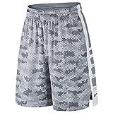 NIKE Men's Elite Stripe Camo Basketball Shorts (Cool Grey/Wolf Grey/White, X-Large)