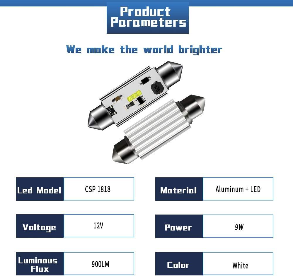 SUMOZO Canbus sin errores 31 36 39 41mm Festoon C5W Bombillas LED 6000K Luz blanca CSP 1818 para el interior del autom/óvil Luces de la puerta de la matr/ícula del domo Paquete de 4 39mm