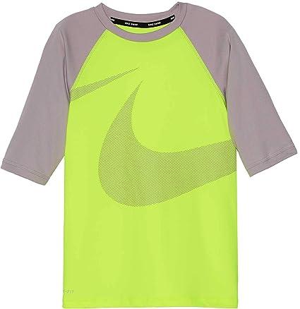 efba9576 Amazon.com : Nike Boy's Macro Swoosh Half Sleeve Hydro Rash Guard ...