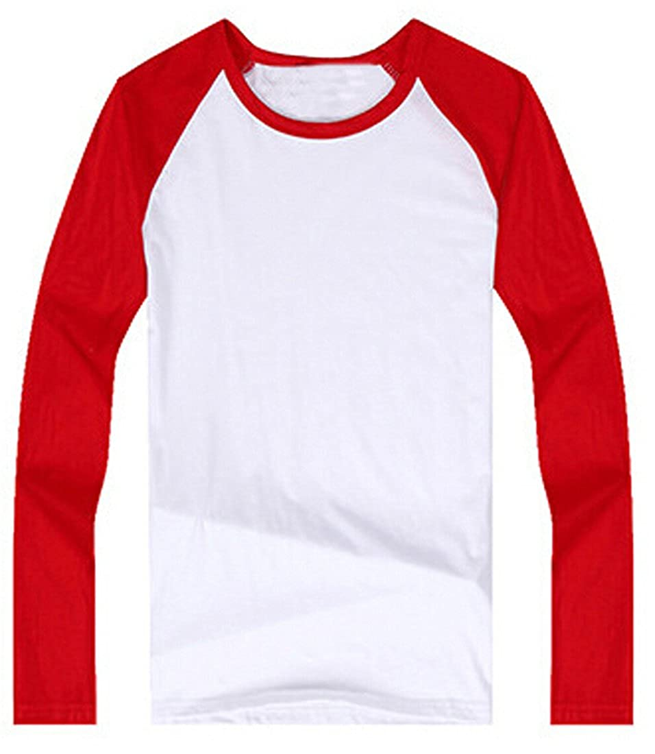 Generic Little Boys Girls Colour Matching Long Sleeve Top T Shirts 6-7 red