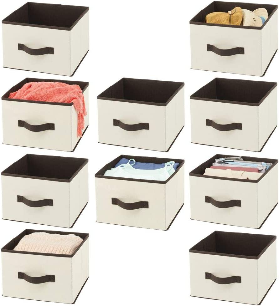 mDesign Soft Fabric Closet Storage Organizer Holder Cube Bin Box, Open Top, Front Handle for Closet, Bedroom, Bathroom, Entryway, Office - Textured Print, 10 Pack - Cream/Espresso Brown