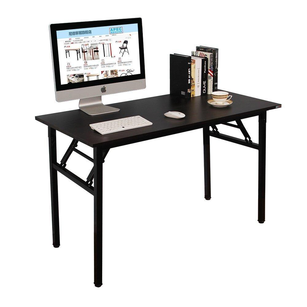 NeedHome Klapptisch Computertisch 120 x 60 x 75 cm PC Schreibtisch Schreibtisch Büroarbeitsplatz für Home Office Verwendung Schreibtisch, Esstisch Konferenztisch,Schwarz,AC5CB-120-SH
