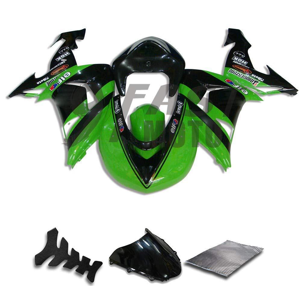 9FastMoto kawasaki カワサキ 2006 2007 ZX-10R ZX10R Ninja 06 07 ZX-10R ZX10R Ninja 用フェアリング オートバイフェアリングキット ABS 射出成形セット スポーツバイク カウル パネル (グリーン & ブラック) K0235   B07RTGZQPY