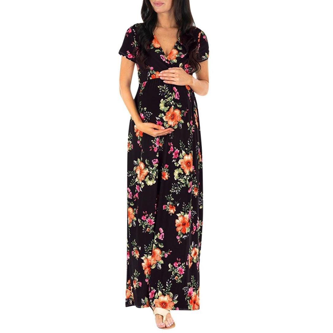 Clearance Sale,TIFENNY Pregnant Womens Nursing Pregnancy Dress Boho Floral Printing Maternity Long Casual Dress (S, Black) 2018 New Tops