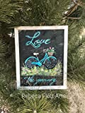 Love the Journey, vintage bike hand painted on window screen