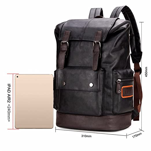 984e63a143c7 Amazon.com  UKXMNC Simple Patchwork Large Capacity Mens Leather Backpack  For Travel Casual Men Leather Travle Backpack Black  Sports   Outdoors