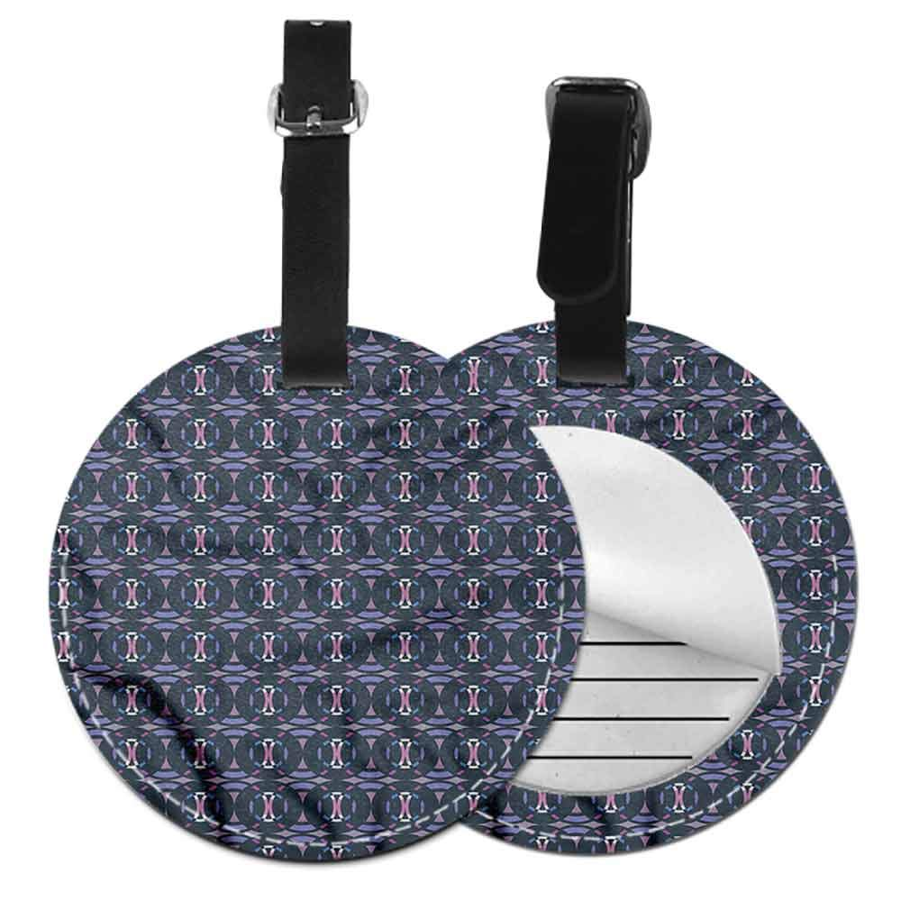 Round Leather Luggage Geometric,Abstract Blue Line Art Address Tags