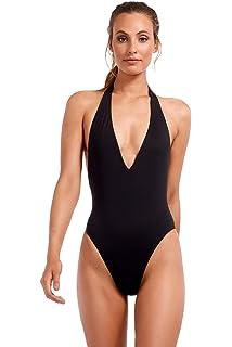 c922112b5b Vitamin A Women's Black Ecolux Emma Bodysuit Full One Piece Halter Swimsuit