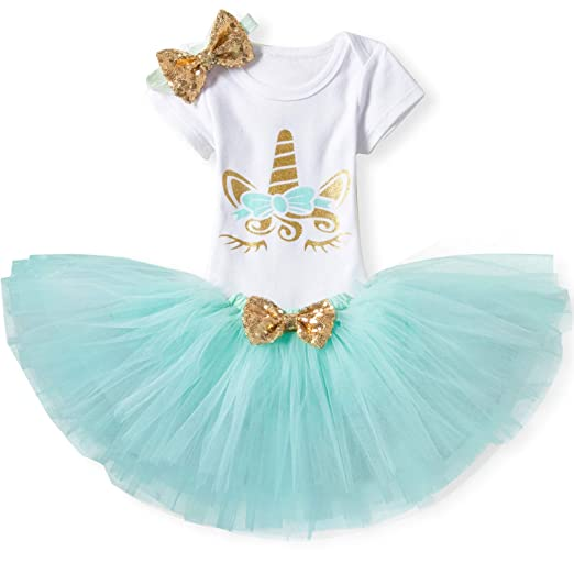 16df987d851b6 TTYAOVO Baby Girl 1st Birthday 3pcs Unicorn Outfits with Headband & Romper  & Skirts