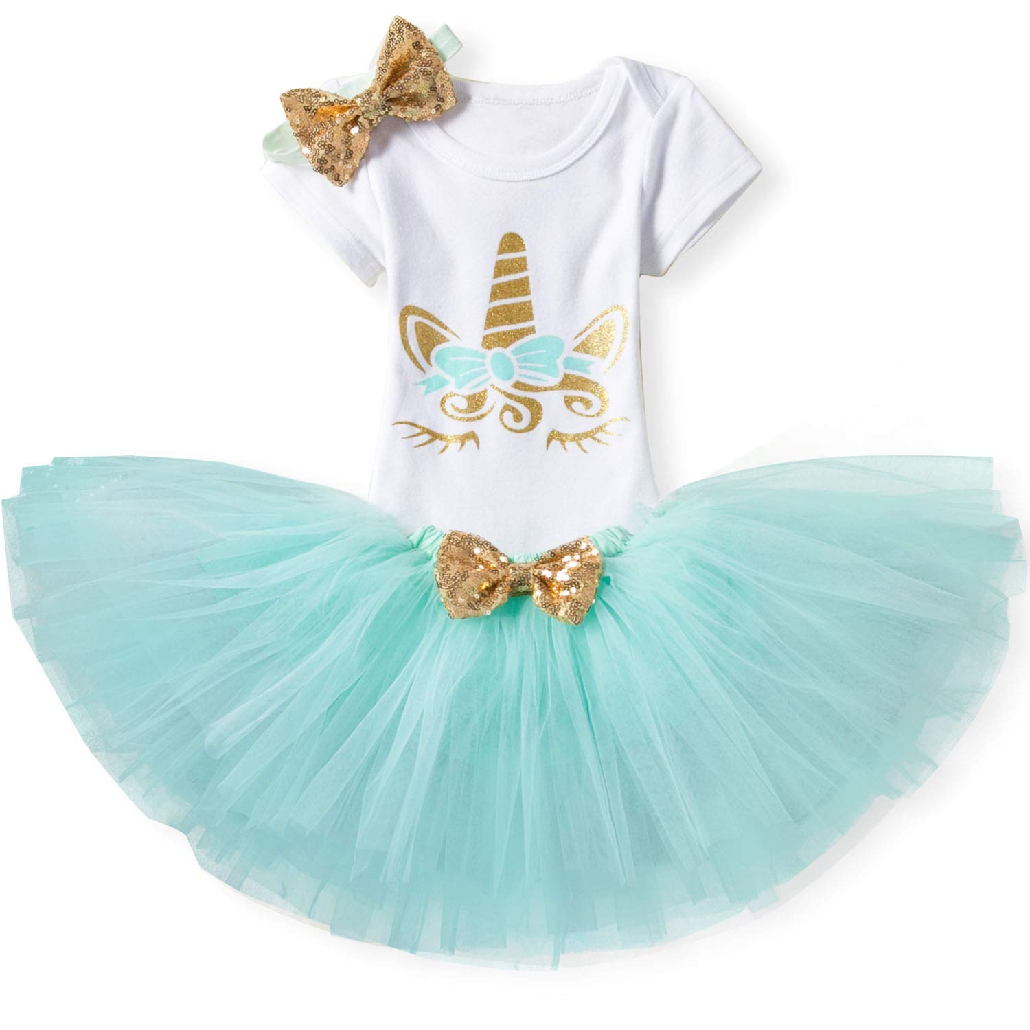 TTYAOVO Baby Girl Birthday 3pcs Unicorn Outfits with Headband & Romper & Skirts Size 10-18 Months Green