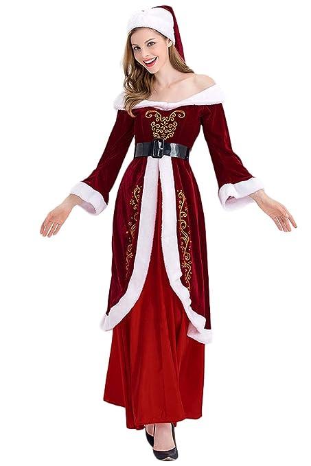 MingoTor Navidad Beropa Santa Claus Mujer Disfraz Traje ...