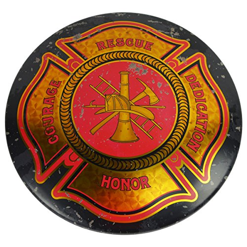 Fire Dept Maltese Cross Firefighter Tin Button Sign Firemens Bar or Pub Wall Decor