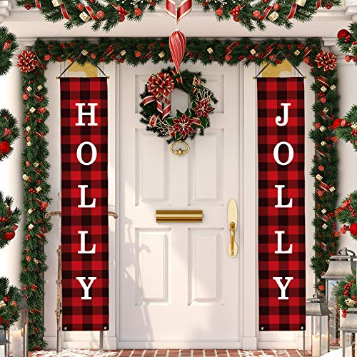 Whaline Christmas Decoration Outdoor Indoor, Holly and Jolly Porch Sign Christmas Buffalo Check Banner for Home Indoor Outdoor Porch Wall Decoration