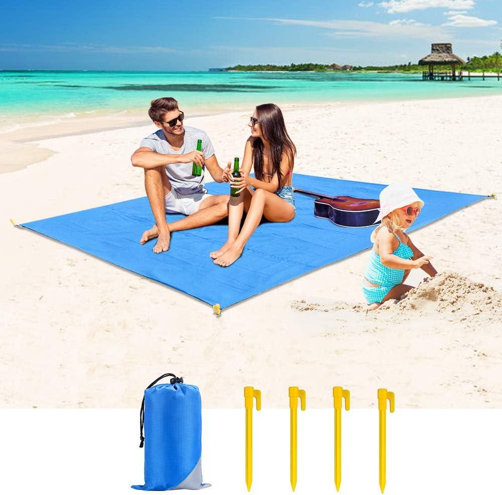 Cocoda Alfombras de Playa Libre de Arena, 200x180cm Manta Picnic para Exterior Grande & Lavable, Esterilla Camping Secado Rápido con 4 Estacas, Equipaje de Viaje para la Playa, Camping, Senderismo