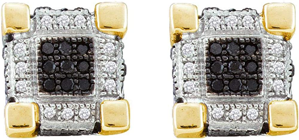 10kt Yellow Gold Mens Round Diamond 3D Cube Square Cluster Stud Earrings 1//4 Cttw