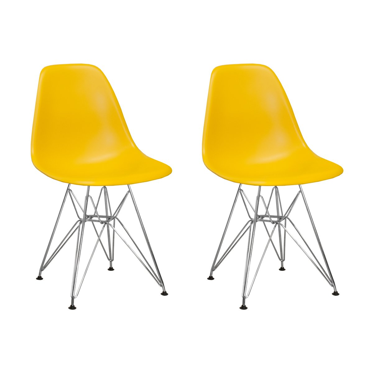 Yellow Mod Made Mid Century Modern Paris Tower Side Chair Dining Chair Bistro Chair for Dining Room Living Room or Kitchen - Black (Set of 2)