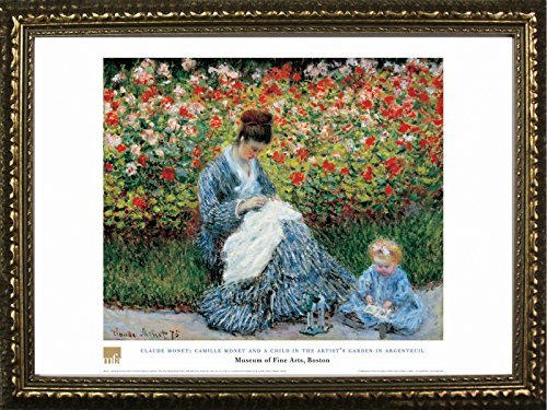 Framed Camille Monet and A Child in The Artist's Garden in Argenteuil by Claude Monet 20x28 Art Print Poster Famous Painting Figurative Floral from Museum of Fine Arts Boston Collection