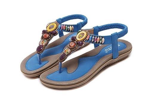 aeb3ce59bf4cd NewYork Offer Shop Women Bohemia Sling Sandals Flower Beads Yoga Flip Flop  Flats Slingback Thong Shoes