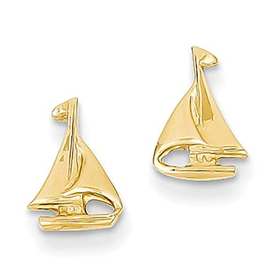 31dd7329f Image Unavailable. Image not available for. Color: Lex & Lu 14k Yellow Gold  Sail Boat Earrings-Prime