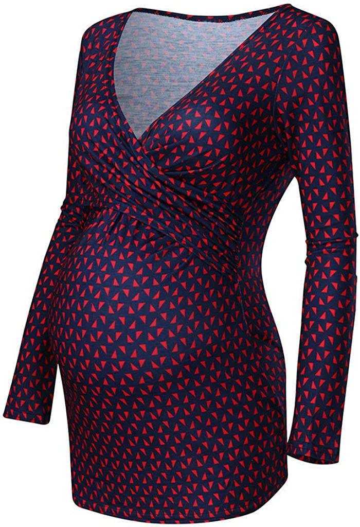 Ashui Damen Umstandsmode Shirt Stillshirt Kurzarm zum Stillen Damen Still Umstands-Top Lagendesign Farbblock-Design 3//4 /Ärmel Langarmshirt mit tiefem V-Ausschnitt und Langarm-Print f/ür Damen