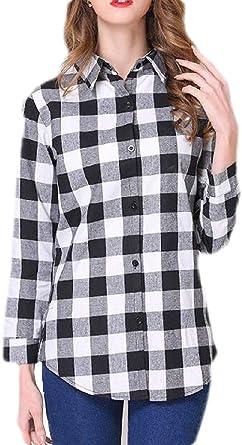 H&E Camisa a Cuadros de Manga Larga con Botones para Mujer: Amazon.es: Ropa y accesorios
