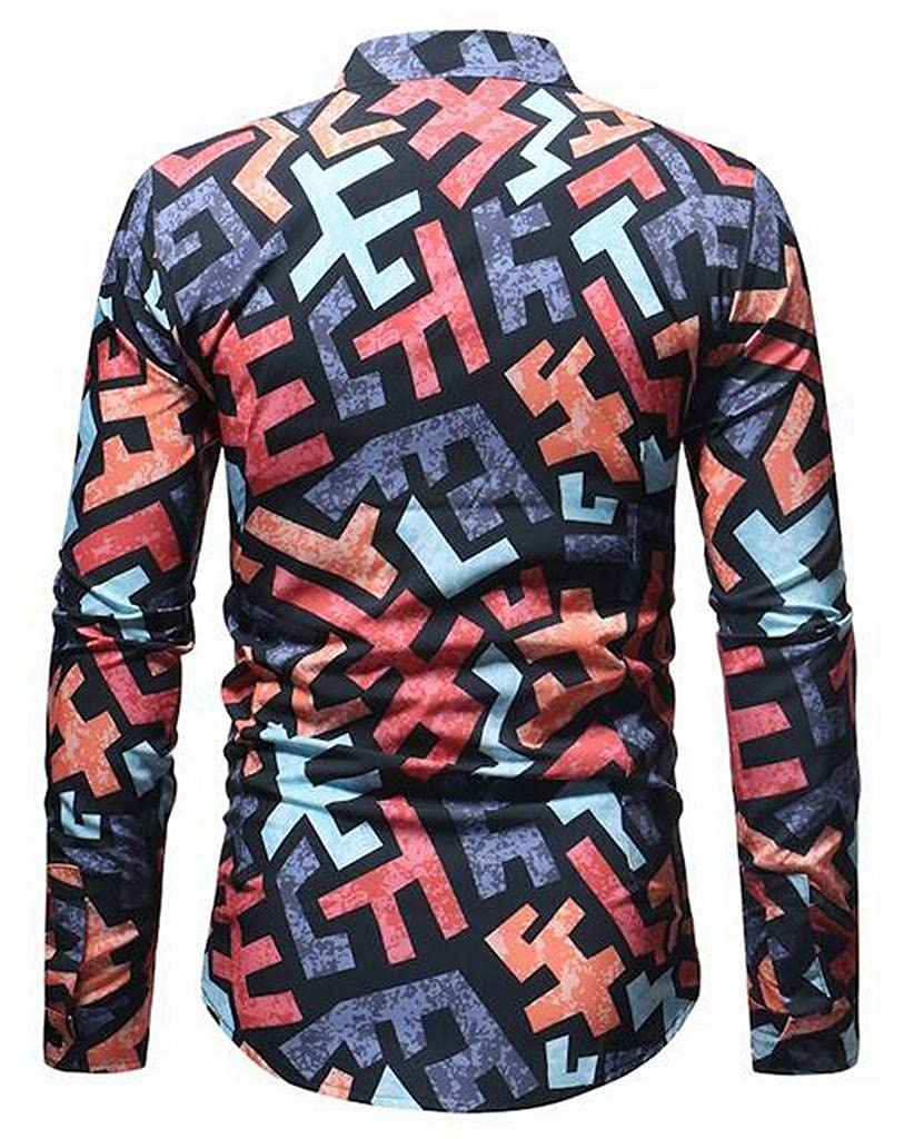 MMCP Mens Button Up Slim Print Long Sleeve Formal Dress Shirts
