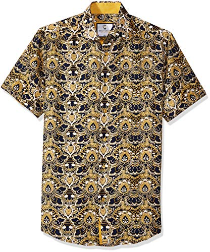 Azaro Uomo Men's Big and Tall Short Sleeve Button Down Shirt Casual Dress Loud Slim Fit, Mediterranean Beige, 3XL