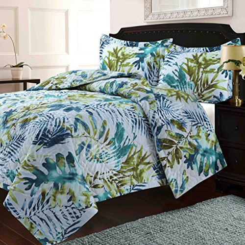 TRIBECA LIVING TRRAQUILTQUBL Lyon Tropical Rainforest Oversized Quilt Set, Queen Multi