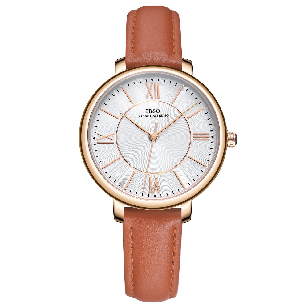 IBSO Ladies Watches Leather Band Round Case Fashion Women Watches on Sale relojes Mujer (8240-Brown)
