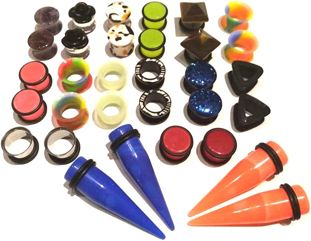 Zaya Body Jewelry 8 Pair Assortment Mix of Ear Plugs Tapers Spirals Tunnels Acrylic Steel Organic Gauges Sizes 8g-5/8