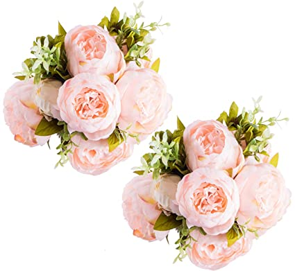 Amazon Foraineam Peony Artificial Flowers Home Centerpiece Decor Silk Fake Peonies Wedding Bouquets Pack Of 2 Spring Pure Pink Kitchen