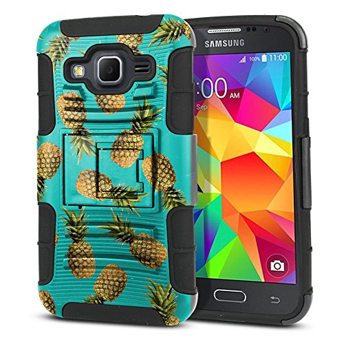 FINCIBO Case Compatible with Samsung Galaxy Core Prime G360 Prevail LTE, Dual Layer Hybrid Armor Heavy Duty Protector Case Cover Stand Soft TPU for Galaxy Core Prime G360 - Paradise Pineapples