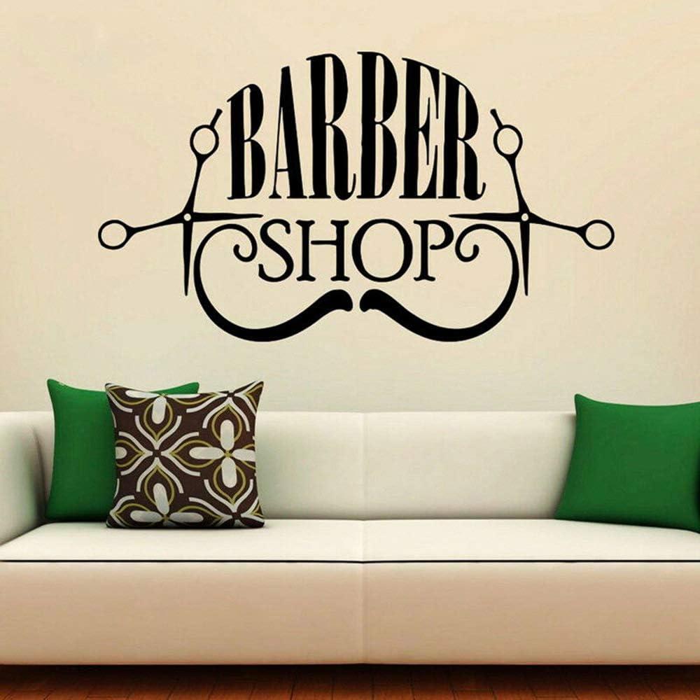 jiushixw Barber Shop Moustache Barba Tijeras Vinilo Adhesivo de ...
