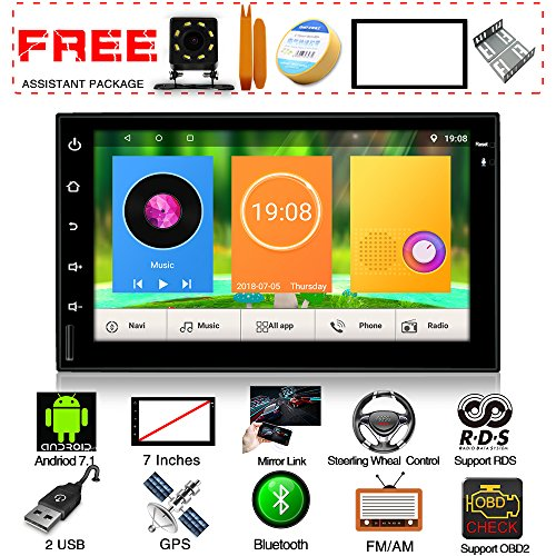 Upgraded Android 7.1 Quad Core 7 inch Touch Screen Universal Radio Headunit in Dash Double Din Car Stereo GPS Navigation WiFi Bluetooth Steering Wheel Free Rear Camera Car Tuning Tools