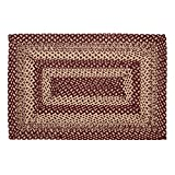 VHC Brands Classic Country Primitive Flooring - Burgundy Tan Jute Red Rug, 2' x 3'